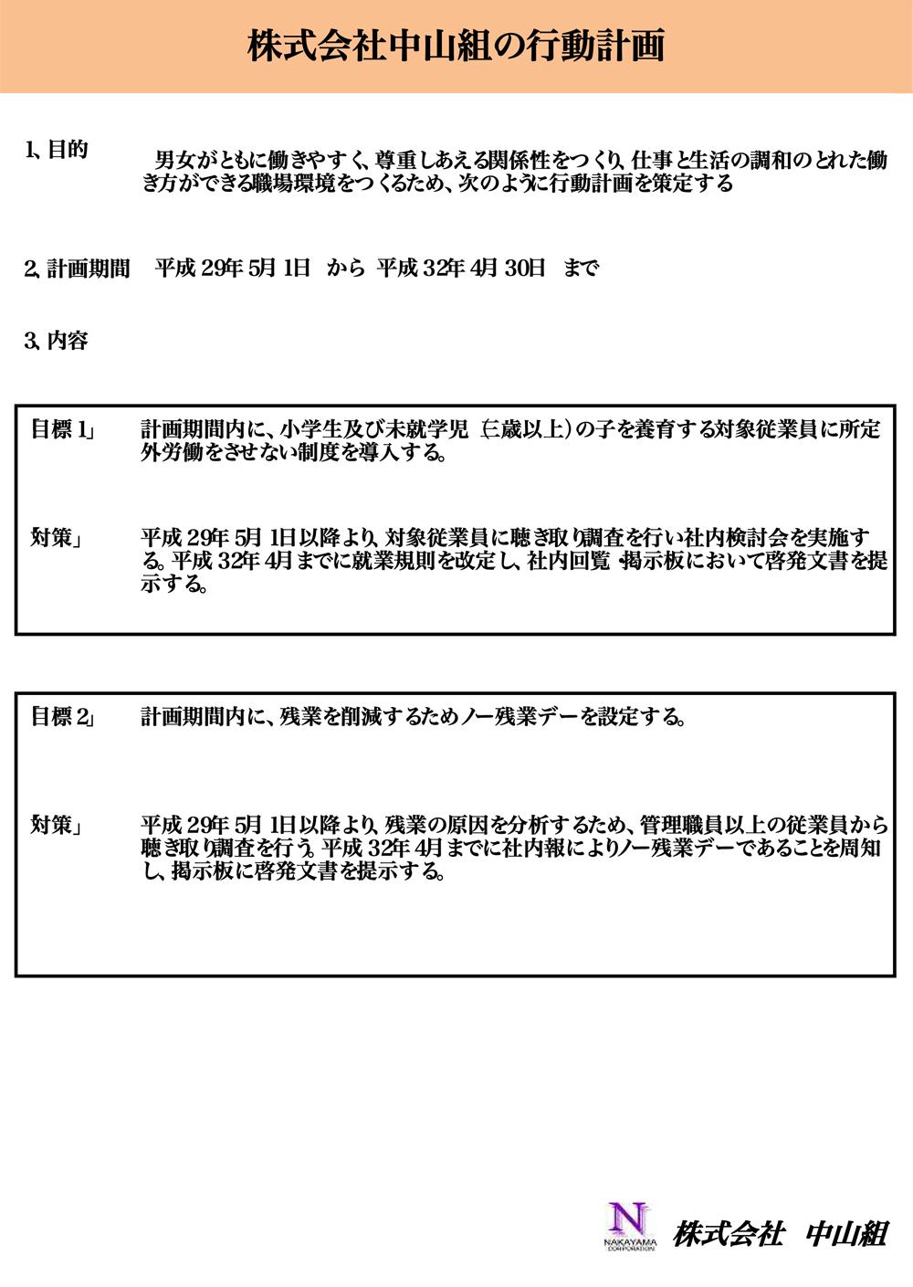 株式会社中山組の行動計画
